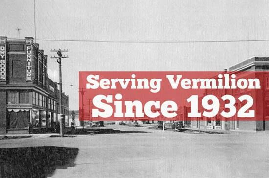 streetscape of vermilion in 1932